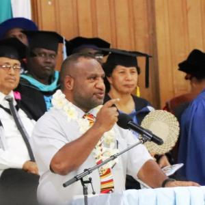 Pm Marape Addressing The Graduands Of Pau In The Presence Of The Academic Staff