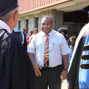 Pm Marape Arrives At Pau For Their 2019 Graduation