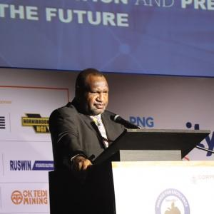 Pm Marape Delivering His Speech At The 2020 Png Security Congress